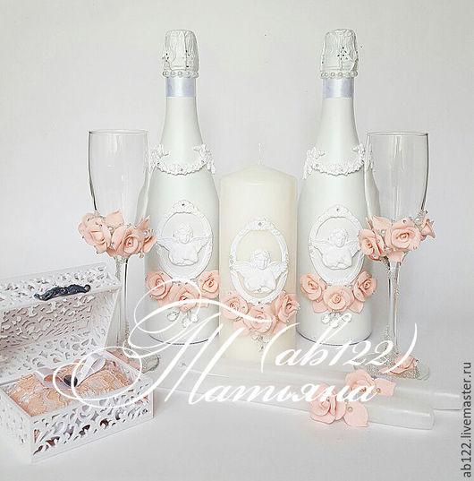 Свадебные аксессуары ручной работы. Ярмарка Мастеров - ручная работа. Купить Свадебный набор в персиковых тонах. Handmade. Белый