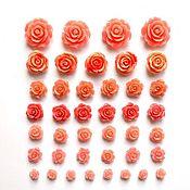 Бусины ручной работы. Ярмарка Мастеров - ручная работа Бусины розы из коралла, 7 размеров. Handmade.