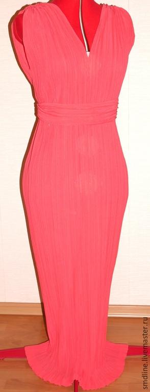 Платья ручной работы. Ярмарка Мастеров - ручная работа. Купить Платье из натурального шелка. Handmade. Коралловый, гофрированная ткань