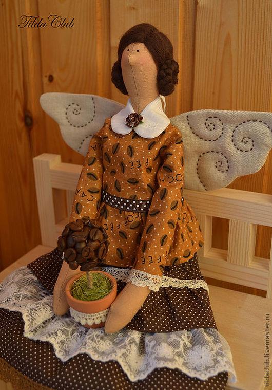 Куклы Тильды ручной работы. Ярмарка Мастеров - ручная работа. Купить Кофейная фея Тильда. Handmade. Коричневый, ангел тильда