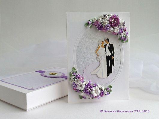 Авторская свадебная открытка `Романтичная` ручной работы в коробочке, с местом для размещения денежного подарка.