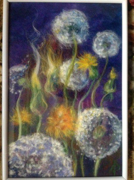 Картины цветов ручной работы. Ярмарка Мастеров - ручная работа. Купить ночные одуванчики. Handmade. Синий, шерстяная акварель, цветы