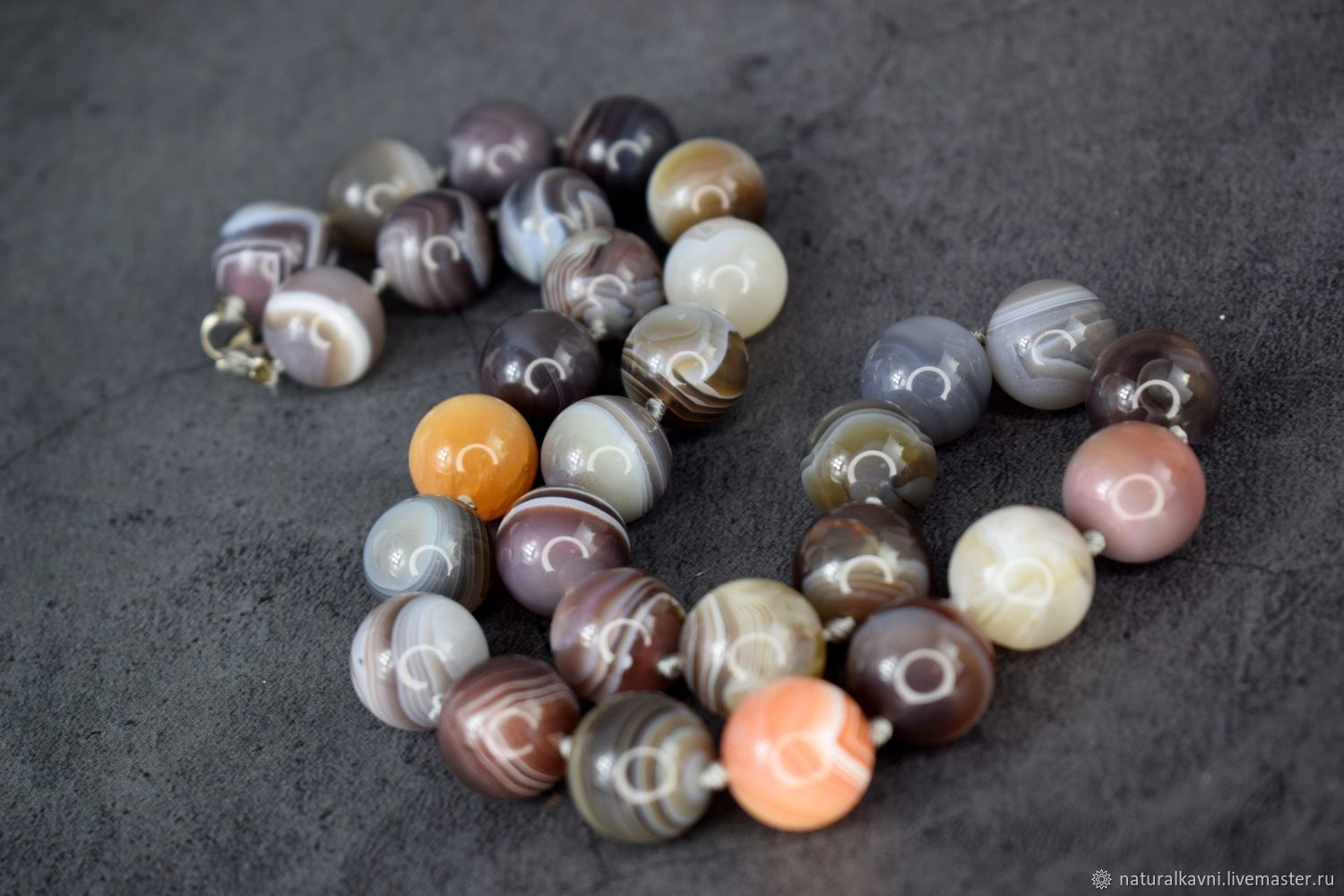 Beads made of natural stone agate Botswana, Beads2, Moscow,  Фото №1