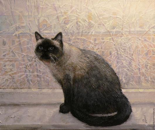 картина.портрет по фотографии.кот Геркулес у зимнего окна .размер 70х60