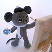 Куклы и игрушки ручной работы. Ярмарка Мастеров - ручная работа Мышонок - художник. Валяная игрушка.. Handmade.