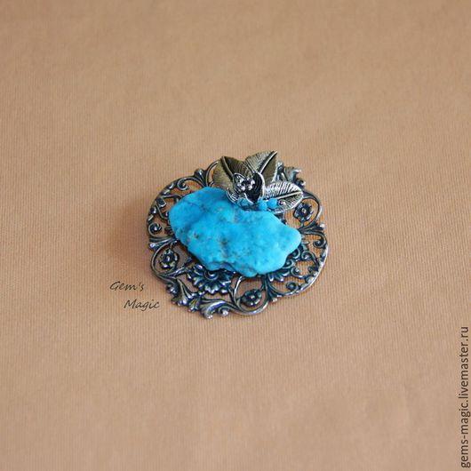 """Броши ручной работы. Ярмарка Мастеров - ручная работа. Купить Брошь-кулон из бирюзы """"Чудесный цветок"""". Handmade. Голубой"""