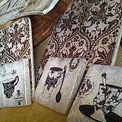 Картины и панно ручной работы. Ярмарка Мастеров - ручная работа Панно, комплект из 4х шт_Чаепитие_Винтаж W0172. Handmade.