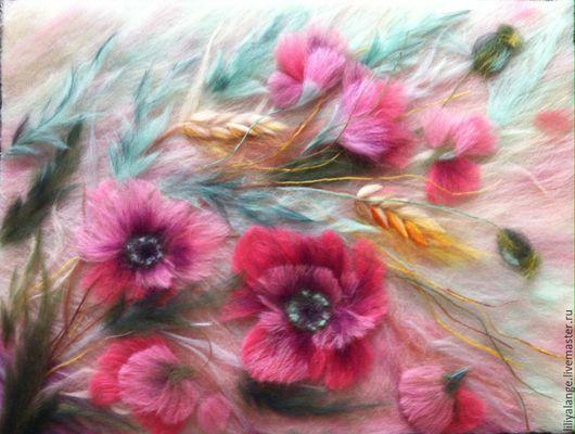 """Картины цветов ручной работы. Ярмарка Мастеров - ручная работа. Купить картина из шерсти """" Маки """"( 2). Handmade."""