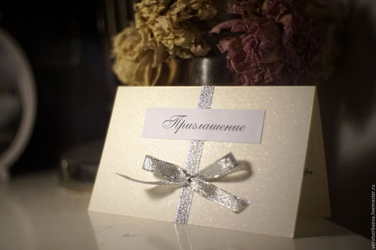 Свадебные аксессуары ручной работы. Ярмарка Мастеров - ручная работа. Купить Зимние приглашения на свадьбу в цветах айвори серебро. Handmade.