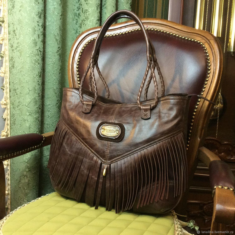 Большая сумка из кожи, кожаная сумка, большая мягкая сумка, сумка ручной работы, сумка с ручками