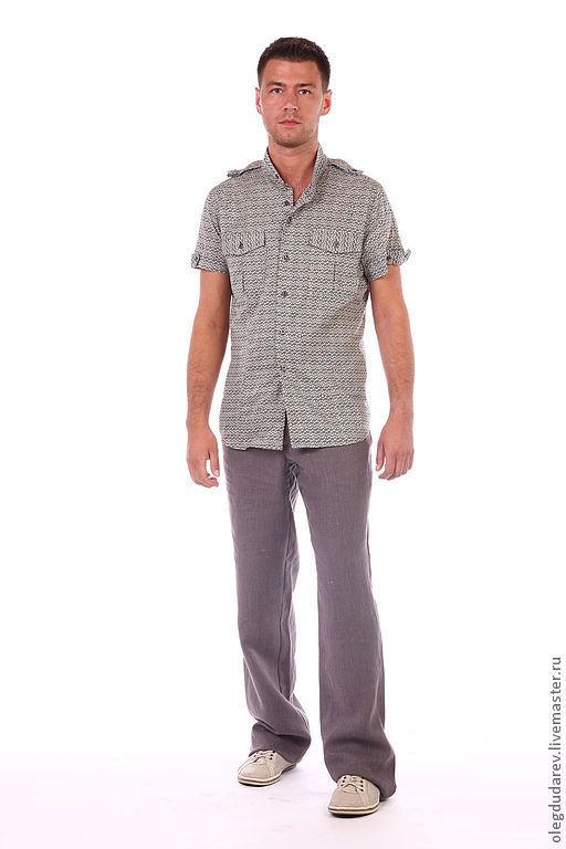 Для мужчин, ручной работы. Ярмарка Мастеров - ручная работа. Купить летние брюки. Handmade. Однотонный, брюки из льна