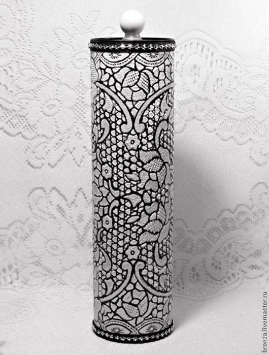 """Персональные подарки ручной работы. Ярмарка Мастеров - ручная работа. Купить Короб для бутылки  """"Кружевной"""". Handmade. Чёрно-белый"""