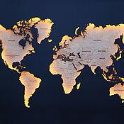 Картины и панно handmade. Livemaster - original item World map with backlight S. Handmade.