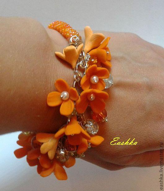 Браслеты ручной работы. Ярмарка Мастеров - ручная работа. Купить Оранжевое лето. Handmade. Рыжий, бисер, оранжевый, стеклянные бусины
