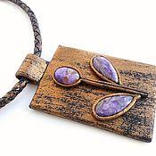 Украшения handmade. Livemaster - original item pendant leather carefuly flower. Handmade.