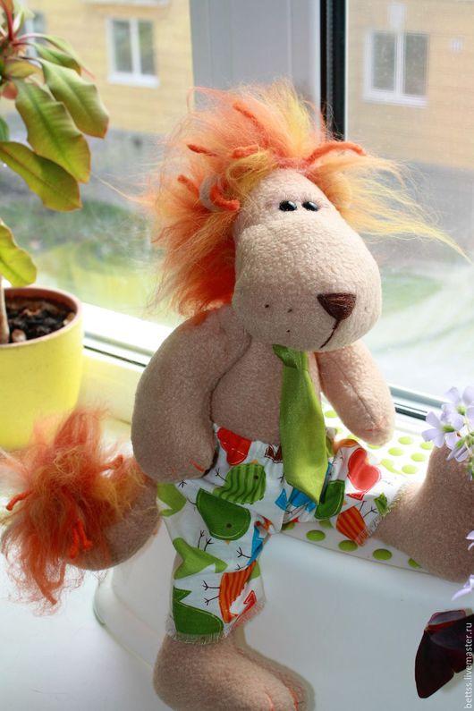 """Игрушки животные, ручной работы. Ярмарка Мастеров - ручная работа. Купить """"Лев-Счастливчик"""" текстильная игрушка. Handmade. Рыжий, флис"""