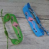 """Браслет из бусин ручной работы. Ярмарка Мастеров - ручная работа Браслет из бисера """"Розовый фламинго"""". Handmade."""