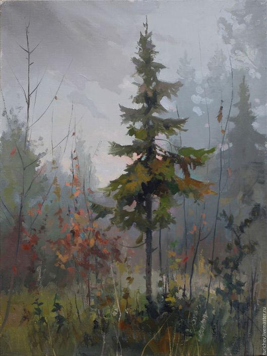 Пейзаж ручной работы. Ярмарка Мастеров - ручная работа. Купить Осенний лес. Handmade. Серый, лес, осень, ель, елка