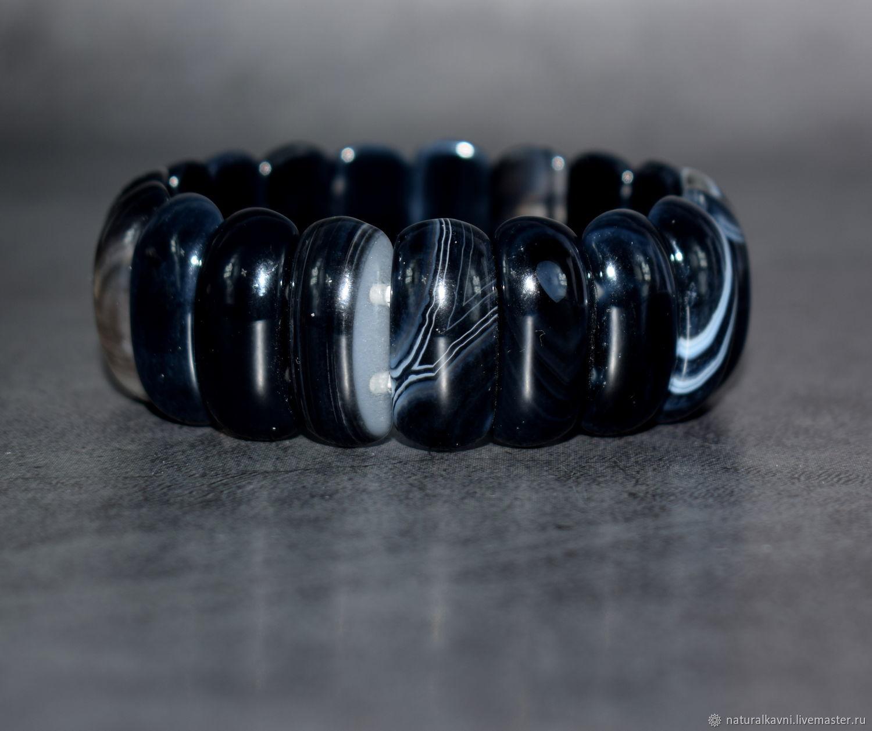 Agate Bracelet Natural Black Agate Bracelet, Bead bracelet, Moscow,  Фото №1