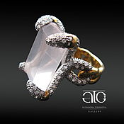 Украшения handmade. Livemaster - original item Ring with rose quartz and CZ. Silver 925proby, gilding 24K. Handmade.