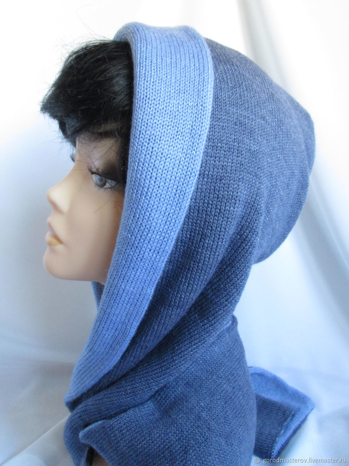 Hood with a short scarf grey blue womens wool, Hoods, Moscow,  Фото №1
