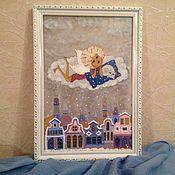 """Картины и панно ручной работы. Ярмарка Мастеров - ручная работа Картина на стекле """"Ангельское облачко"""". Handmade."""