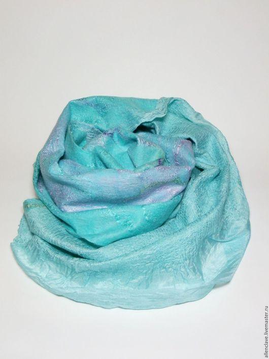 Шарфы и шарфики ручной работы. Ярмарка Мастеров - ручная работа. Купить шарф валяный Бирюзовая гладь. Handmade. Разноцветный