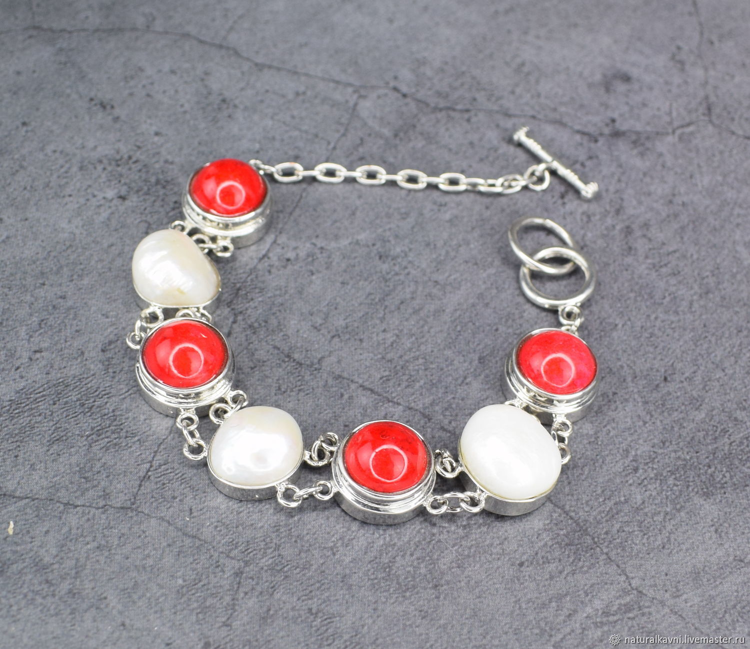 Bracelet of natural coral and pearls, Bead bracelet, Moscow,  Фото №1