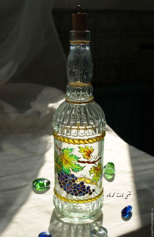 """Графины, кувшины ручной работы. Ярмарка Мастеров - ручная работа. Купить Бутылка """"Виноград"""". Handmade. Комбинированный, бутылка декоративная"""