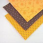 Материалы для творчества ручной работы. Ярмарка Мастеров - ручная работа Ткань комплект Апельсин в шоколаде, хлопок 100%. Handmade.