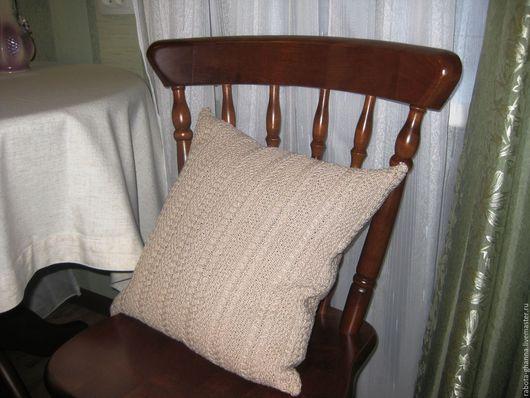 Текстиль, ковры ручной работы. Ярмарка Мастеров - ручная работа. Купить Вязаная наволочка для декоративной подушки. Handmade. Бежевый