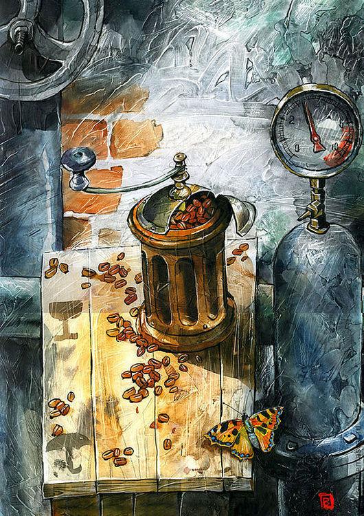 Натюрморт ручной работы. Ярмарка Мастеров - ручная работа. Купить Бабочка и насос. Handmade. Картина, авторская работа, бабочка, кофемолка