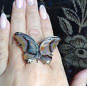 Украшения ручной работы. Ярмарка Мастеров - ручная работа Кольцо бабочка из агата в серебре 925. Handmade.