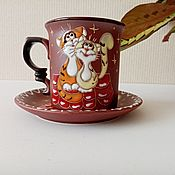 handmade. Livemaster - original item Ceramic decorative vase handmade: Cats on the roof. Handmade.