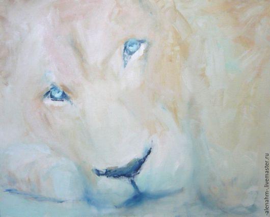 """Животные ручной работы. Ярмарка Мастеров - ручная работа. Купить """"Белый Лев"""". Живопись.. Handmade. Бежевый, Живопись, животные, голубой"""