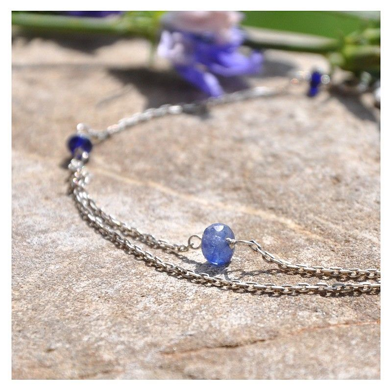 Браслет Forte Blue из синих сапфиров Серебро 925 Сапфиры синие, Браслет из бусин, Краснодар,  Фото №1