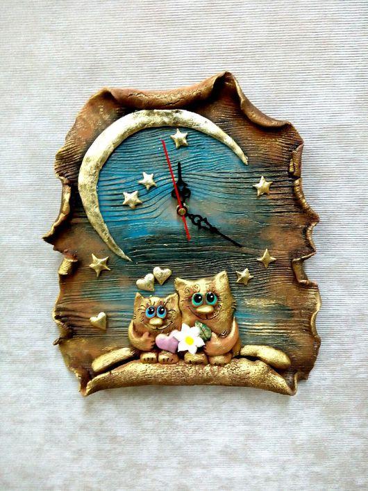 """Часы для дома ручной работы. Ярмарка Мастеров - ручная работа. Купить Часы """" Счастье под звёздами"""". Handmade. Комбинированный"""