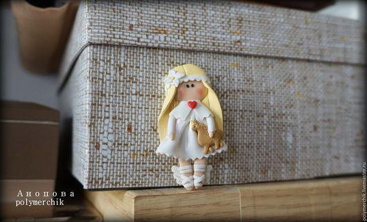 """Броши ручной работы. Ярмарка Мастеров - ручная работа. Купить Брошь """"Ангел"""". Handmade. Белый, металлическая фурнитура"""