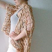 Аксессуары ручной работы. Ярмарка Мастеров - ручная работа Объемный бежевый шарф-трансформер мягкая 100% шерсть Кофе с молоком. Handmade.