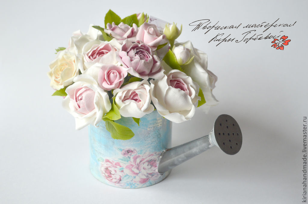 interior arrangement. Watering can with garden roses, Composition, Vladivostok,  Фото №1