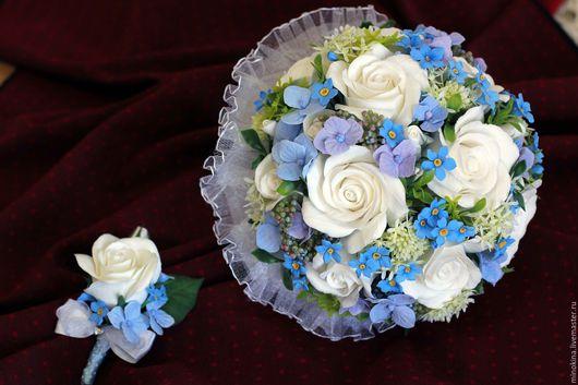 Свадебные цветы ручной работы. Ярмарка Мастеров - ручная работа. Купить Свадебный букет с незабудками. Handmade. Голубой, букет невесты