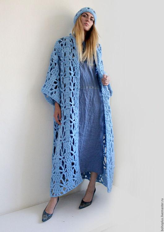 """Верхняя одежда ручной работы. Ярмарка Мастеров - ручная работа. Купить Летнее пальто из толстой пряжи """"Голубой день"""". Handmade."""
