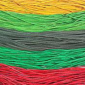 Шнуры ручной работы. Ярмарка Мастеров - ручная работа Кожаные шнуры плоские, желтый - 3 зеленых оттенка. Handmade.
