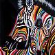 """Животные ручной работы. Ярмарка Мастеров - ручная работа. Купить Картина маслом """"Разноцветные зебры N2"""". Handmade. Разноцветный"""