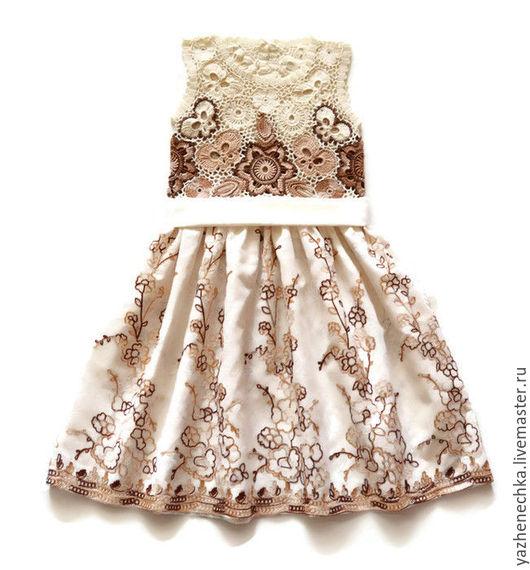 Платье для девочки, ирландское кружево. Вид с пояском