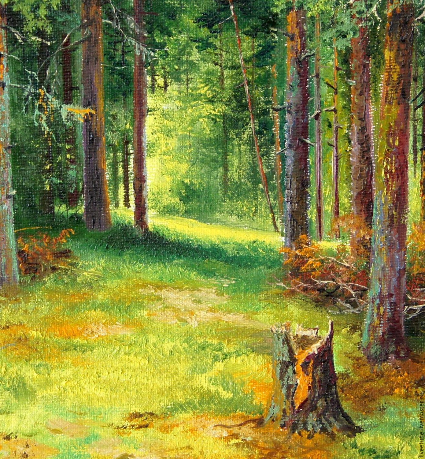 Modern Forest House: Oil Painting Peisaj In A Pine Forest _ The Author's Work