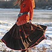 """Одежда ручной работы. Ярмарка Мастеров - ручная работа Льняная ярусная  юбка в пол """"Отблеск заходящего солнца """". Handmade."""