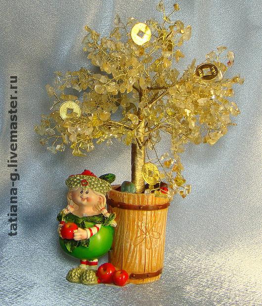 """Обереги, талисманы, амулеты ручной работы. Ярмарка Мастеров - ручная работа. Купить Дерево из натуральных камней """"Осеннее , денежное дерево"""". Handmade."""