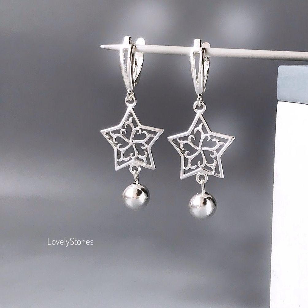 Holiday star earrings on English castles silver, Earrings, Yaroslavl,  Фото №1