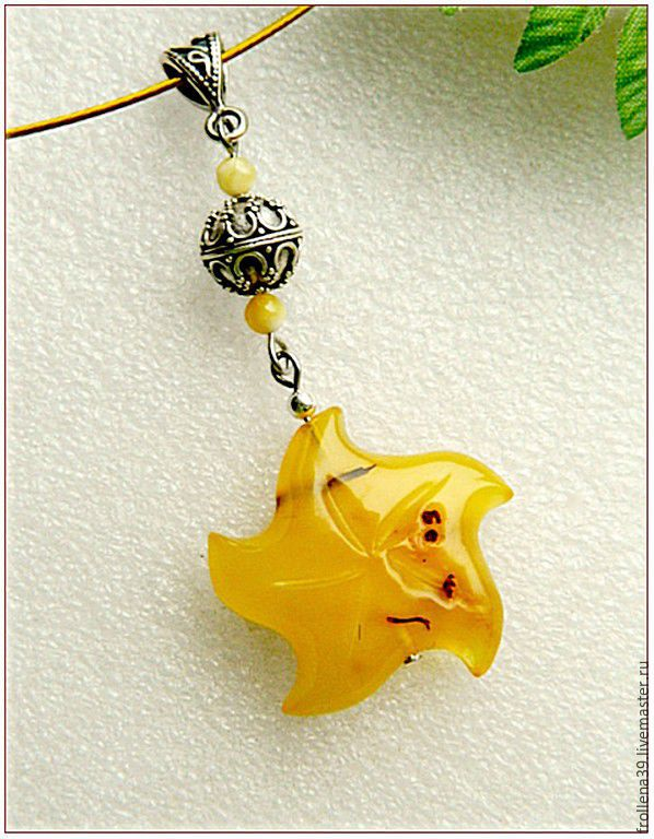 pendant 'my star' amber silver, Pendants, Moscow,  Фото №1